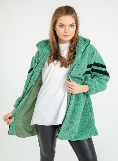 Foremia Peluş Şerit Detay Uzun Ceket Yeşil